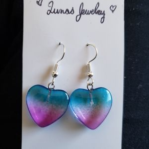 🌹 glass heart earrings 💖